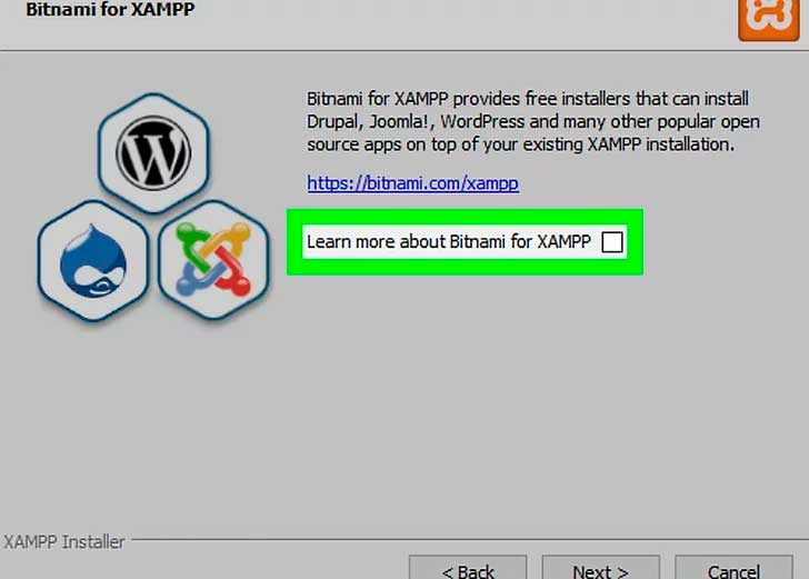 XAMPP installation step 10